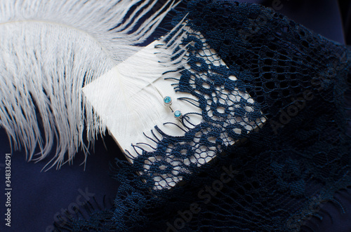 Silver earrings with blue zirconium in white box decorated with white feather an Tablou Canvas