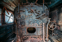 Old Steam Engine Of Abandoned Steam Locomotive Inside Driving Cabin