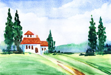 Watercolor Summer Landscape. Road Through Green Field Leading To Red-roofed White Building Surrounded By High Cypresses And Blurry Outlines Of Forest On Background. Tender Blue Sky With White Clouds