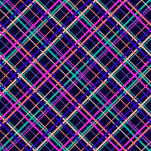 Vector Seamless Pattern With Diagonal Cross Lines, Stripes, Square Grid, Lattice. Simple Tartan Plaid Texture. Abstract Colorful Background. Bright Colorful Strips On Black Background. Repeat Design