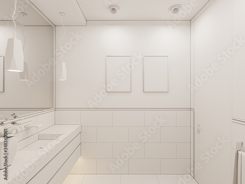 3D render interior of the bathroom in a private cottage Canvas Print