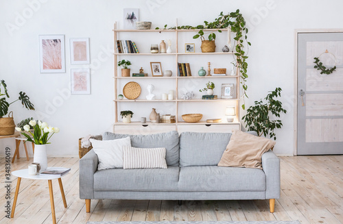 Cozy design, light wall, wooden floor, blue sofa and plants in pot Tableau sur Toile