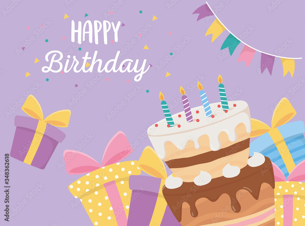 Fototapeta happy birthday, cake candles gift boxes and pennants confetti celebration