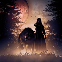 Woman And The Wolf In A Dark M...