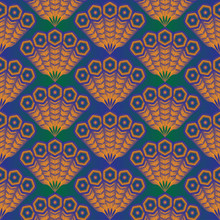 Seamless Vector Pattern Of Decorative Peacock Tail. Vibrant Feathers On Gradient Blue To Green Background. Elegant And Exotic Fans In Exotic Oriental Design Perfect For Textile. Natural And Geometric