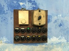 Close-up Of Bakelite Switches With Thermostat