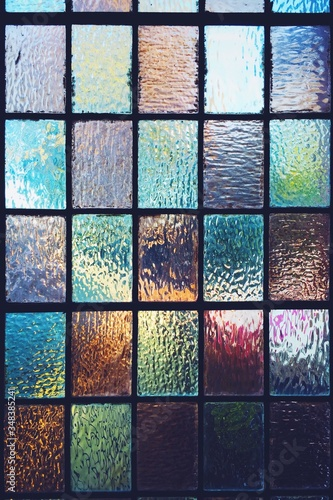 Obraz na plátně Full Frame Shot Of Multi Colored Stained Glass
