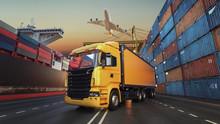 Transportation And Logistics Of Container Cargo Ship And Cargo Plane..