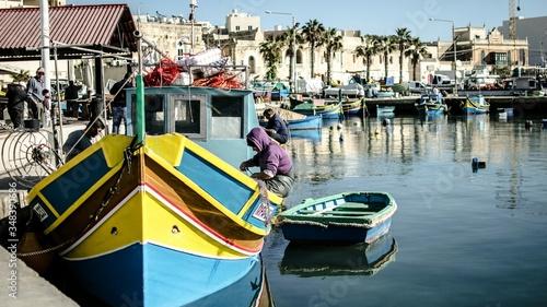 Fotografiet Fishing Boats In Marina