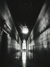 Illuminated Corridor Of New York Public Library