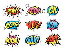 Comic Burst Text Balloons Flat...