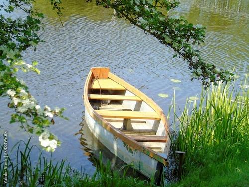 Fotografia Rowboat Moored At Lakeshore