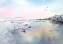干潟 水彩画