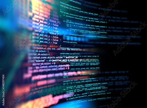 Fotomural Programming code abstract technology background of software developer and  Compu