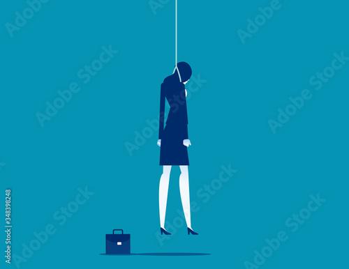 Strangled businessman hanged at rope. Depression concept. Canvas-taulu