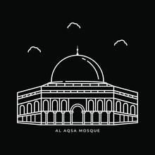 Al Aqsa Mosque Historical Building Illustration. Icon Vector Design