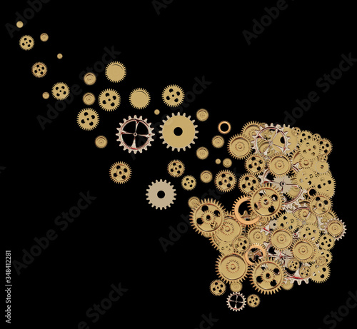 alzheimer head brain of gears amnesia lose our memory - 3d rendering Canvas Print
