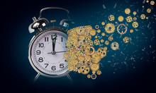 Alzheimer Head Brain Of Gears Amnesia Time Clock Hour - 3d Rendering
