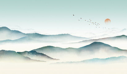 Fototapeta Góry Chinese style classical traditional ink landscape painting. Watercolor landscape painting of gentle mountains