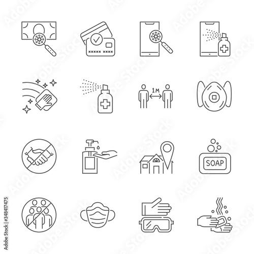 Obraz na plátne Coronavirus protection related thin line vector icons set