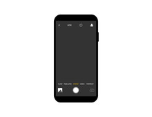 Mockup Of Camera Interface On Smartphone. Template Of Video And Photo Screen With Settings On Mobile Device. Layout With Timelapse, Slow Hdr Icons. Modern Interface Of Camera With Frame.