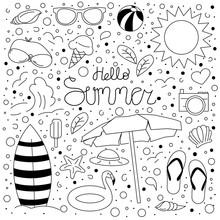 Lineart Hello Summer Doodle Se...
