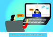 Vector Art Of Virtual Conversation Between man and woman during covid-19, Editable eps available