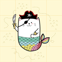 Cat Mermaid In Pirate Costumes...