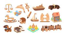 Vintage Wooden Toys Set. Toys For Children Made Of Wood Bears, Plane, Sword, Hedgehog Educational, Puzzle, Dog