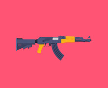 Flat Illustration Rifle Vector...