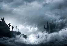 Cemetery Or Graveyard In The Night With Dark Sky And White Clouds. Haunted Cemetery. Spooky And Scary Burial Ground. Horror Scene Of Graveyard. Funeral Concept. Sadness, Lament And Death Background.
