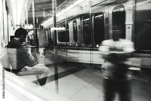 Photo Reflection Of Man With People In Train At Balintawak Lrt Station