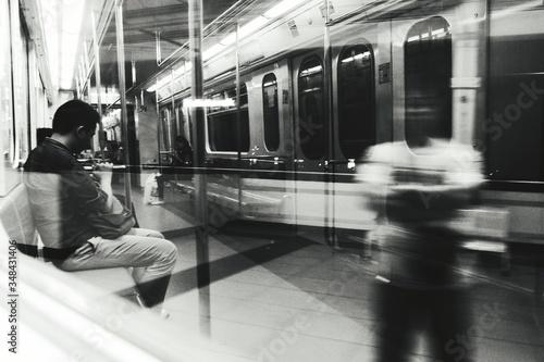 Reflection Of Man With People In Train At Balintawak Lrt Station Wallpaper Mural