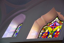 Low Angle View Of Stained Glass Window At Church