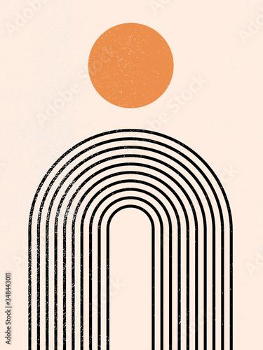Plakat w ramce 40x30 cm Abstract contemporary aesthetic background with geometric balance shapes, rainbow and sun. Black and gold. Boho wall decor. Mid century modern minimalist art print. Organic natural shape. Line art.