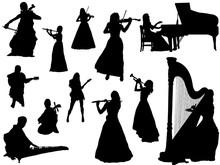 楽器演奏シルエット