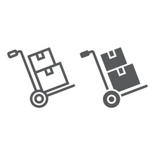 Hand Truck With Cardboard Boxes Line And Glyph Icon, Logistic And Delivery, Hand Dolly Sign Vector Graphics, A Linear Icon On A White Background, Eps 10.