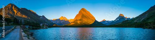 Vászonkép beautiful landscape at Swiftcurrent Lake  when sunrise in Many Glacier area ,Montana's Glacier National Park,Montana,usa