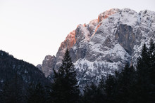 Mount Cima Del Lago On Lake Predil At Dawn, Italy
