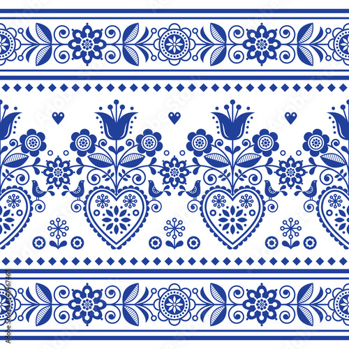 Scandinavian folk art seamless vector pattern with birds and flowers, Nordic rep Canvas Print