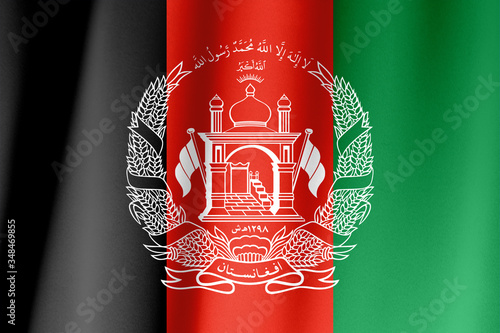 Colorful, closeup, wavy flag of Afghanistan fills the frame Canvas Print