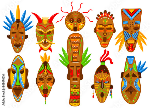 Ethnic mask set isolated on white, African tribal ritual totem, ceremonial idol avatar, vector illustration Canvas Print