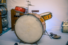 Vintage/antique Drum Kit From The 1930s. Gold Sparkle Finish With Red China Tom Tom And Low Boy Cymbal