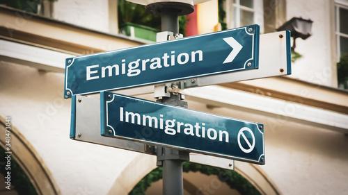 Photo Street Sign Emigration versus Immigration