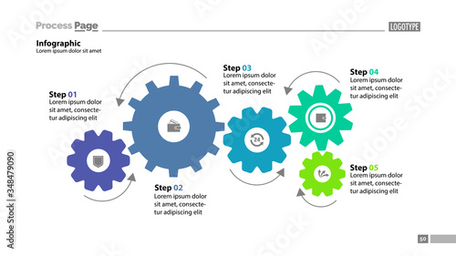 Obraz Five step process chart with cogwheel design. Element of chart, diagram, slide templates. Concept for inforgraphic, annual report, presentation. Can be used for topics like business, finance, banking - fototapety do salonu