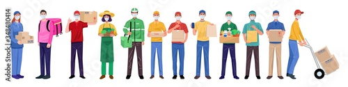 Stampa su Tela Flat design concept, Set of delivery man wearing face masks in various characters