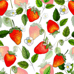 Panel Szklany Owoce Strawberry. Hand drawn. Seamless pattern with red berries, white flowers and green leaves on white background. Illustration for kitchen design, packaging, textile, wrapping paper. Vector.