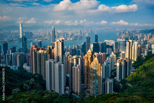 Famous view of Hong Kong - Hong Kong skyscrapers skyline cityscape view from Victoria Peak on sunset Canvas Print