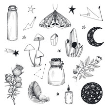 Vector Collection Of Mystical Magic Boho Elements Isolated On White.