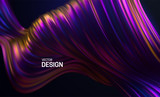 Iridescent striped wave. Liquid flowing shape. Vector 3d illustration. Abstract colorful background. Vibrant gradient stream. Fluid paint wallpaper. Modern cover design